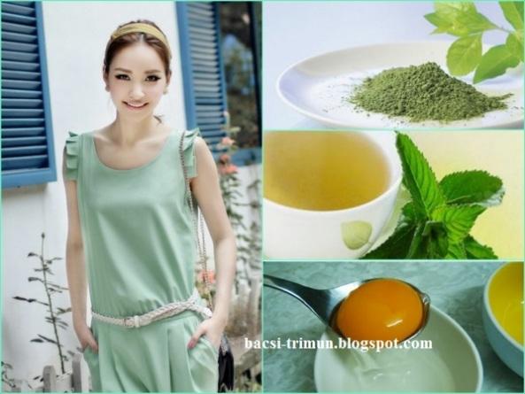 Kết hợp mặt nạ trà xanh, dậu xanh, lòng trắng trứng gà trị mụn đầui đen hiệu quả